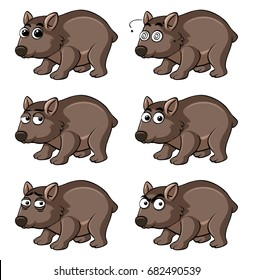 Wombat with different emotions illustration