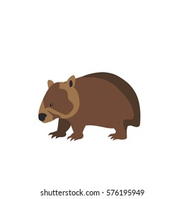 wombat flat vector isolated illustration sign