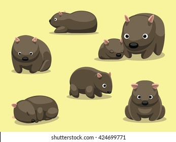 Wombat Poses Cartoon Vector Illustration
