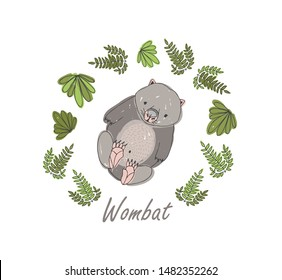 Wombat surrounded by plants isolated on white background. Hand drawn portrait of amusing wild marsupial herbivorous animal. Exotic endemic fauna of Australia. Vector illustration for t-shirt print.