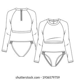 Women 2 pieces Rash guard swimsuit fashion flat sketch template. Long sleeves Raglan bikini. Back neck Zipper. Swimwear Technical Fashion Illustration