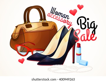 Women accessories, Set of fashion collection. Logo, design. Black shoe, Handbags, jewellery, cosmetics.