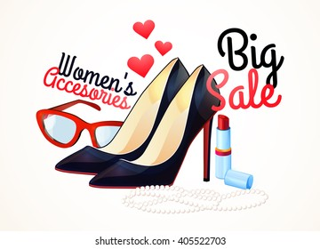 Women accessories, Set of fashion collection. Logo, design. Shoes, jewelry, sunglasses