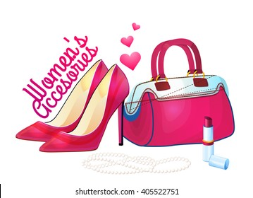 Women accessories, Set of fashion collection. Logo, design. Shoes, jewelry, handbags, sunglasses