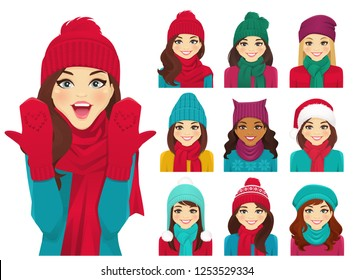 Women in autumn and winter knitted hats with warm scarfs vector illustration isolated