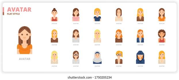Women avatar icon set for web design, book, magazine, poster, ads, app, etc.