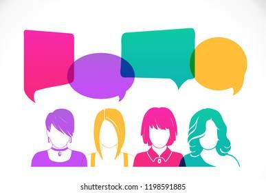 Women avatar profile picture set. Businessman, coworkers, team, think, Question. Idea, Brainstorm. Business concept vector illustration.