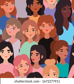 women avatars background design, Woman girl female person people human and social media theme Vector illustration