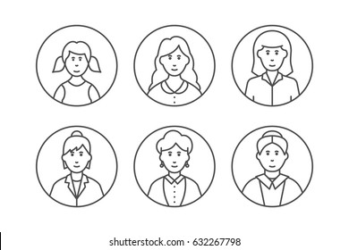 Women avatars concept with different ages isolated on white background in line style by aging: child, teenager, young, adult, old people. People generations.