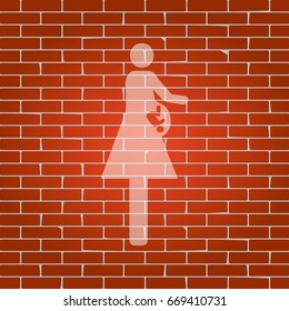 Women and baby sign. Vector. Whitish icon on brick wall as background.