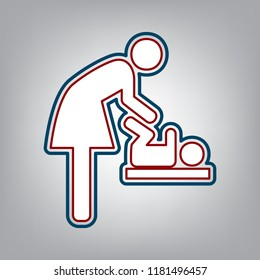 Women and baby symbol, baby changing. Vector. Dark red, transparent and midnight green stroke of white icon at grayish background.
