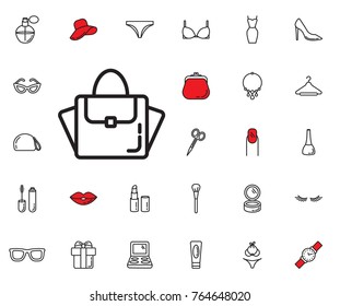 Women bag icon. Set of woman accessories icons. Web Icons Premium quality graphic design. Signs, outline symbols collection, simple icons for websites, web design, mobile app on white background