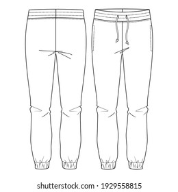 Women Basic Sweat, lounge Pants.  flat fashion sketch template. Technical Fashion Illustration. Front Drawcord. Slit Pockets