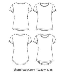 Women Basic t shirt fashion flat sketch template. Girls Short Sleeves Top Technical Fashion Illustration