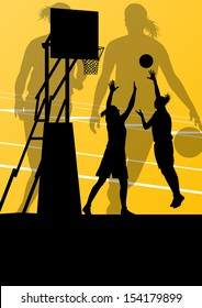 Women basketball player active sport girls vector background illustration