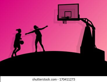 Women basketball player active sport girls vector background abstract illustration