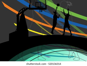 Women basketball players active and healthy sport silhouettes vector abstract background illustration