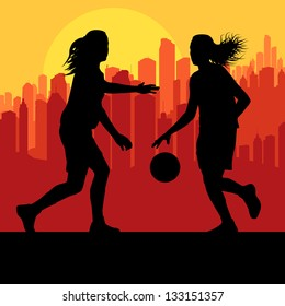 Women basketball players vector background in front of city