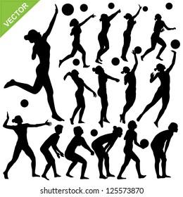Women beach volleyball silhouettes vector