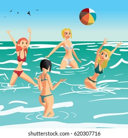 Women in a bikini play volleyball in the sea. Girls throw a ball standing in the water. Flat cartoon vector illustration