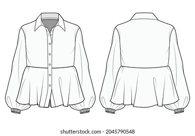 Women Bishop Sleeve Peplum Blouse with Shirt Collar Front and Back View Vector Fashion Illustration , CAD, Technical Drawing, Flat Drawing.