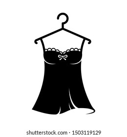 Women black nightgown lace on the hanger. Isolated vector illustration