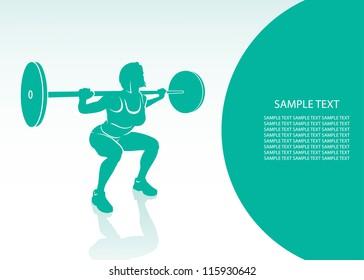 Women bodybuilding background - vector illustration