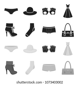 Women boots, socks, shorts, ladies bag. Clothing set collection icons in black,monochrome style vector symbol stock illustration web.