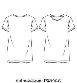 Women Boxy Fit t-shirt fashion flat sketch template. Girls Tunic Length Tee Technical Fashion Illustration