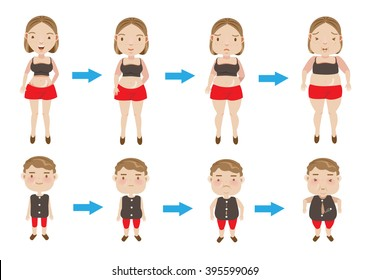 women and boys making incremental weight gain. vector illustration.