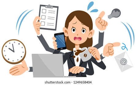 Women business suit suddenly busy