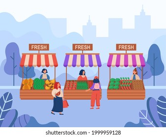 Women buying fresh food at local market flat vector illustration. Cartoon venders selling organic fruits and vegetables in city park. Street trade, farm, production concept
