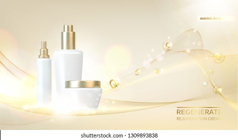Women care cosmetic in beautiful bottles over pink background. Lavender cream and oil. Moisturizer with Vitamins and Regenerate Cream contains herbal essence. Vector illustration.