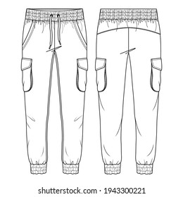 Women Cargo Pockets Jogger Pant Vector Fashion Flat Sketches. Fashion Technical Illustration Template. Drawcord detail. Multiple Stitch detail on cuffs and waistband