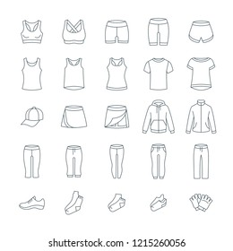 Women casual clothes for fitness training. Basic garments for gym workout. Vector thin line icons. Outline outfit for active girl. Linear sport style shirts, pants, jackets, tops, shorts, skirt, shoes