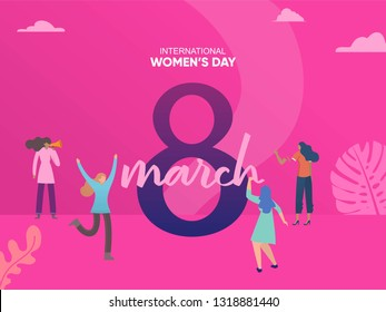 women celebrate women's day at 8 march, International womens day vector illustration concept, can use for, landing page, template, ui, web, homepage, poster, banner, flyer, background, greeting card