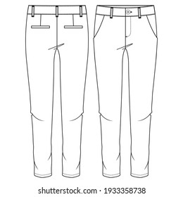 Women Chino Pant fashion flat sketch template. Girls Trousers Technical Fashion Illustration. Slim Fit. Slanted Pockets