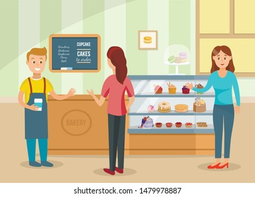 Women Choose Cakes and Buy Coffee at Bakery Shop. Male Seller in Uniform Serves Female Customers. Cartoon People Characters. Confectionery Store Assortment and Interior. Flat Vector Illustration