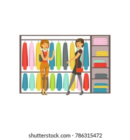 Women choosing dresses during shopping, beautiful girls buying clothing colorful vector illustration