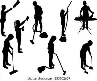 women cleaning in house - vector