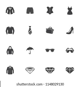 Women clothes and accessories. Universal fashion icon set for web and mobile UI, fashion basic UI elements set
