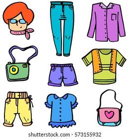 Women clothes bag of doodles vector illustration