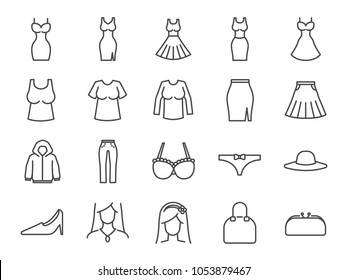 Women clothes icon set. Included the icons as dresses, workwear, fashion, jean, shirt, skirt, accessories and more.