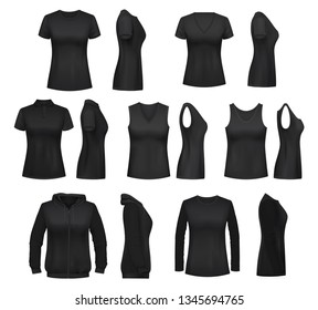 Women clothes isolated mockups. T-shirt and hoodie, sweatshirt and singlet, sleeveless shirt and blouse. Vector female underwear basic clothes black mockups, casual garments design