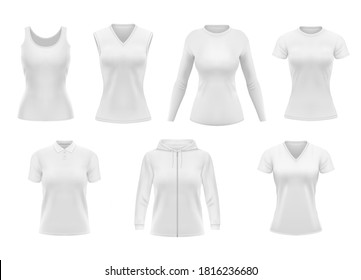 Women clothes isolated vector tshirt, hoodie and polo shirt with singlet and longsleeve apparel mockup. Realistic 3d female garment, white underwear template. Blank clothing design, outfit objects set
