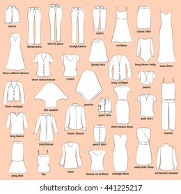 Women Clothes Names Outlined Icons Clothing Stock Vector Royalty