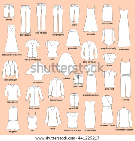 Women Clothes Names Outlined Icons Clothing Stock Vektorgrafik
