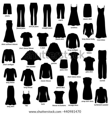 Women Clothes Names Silhouettes Icons Clothing Stock Vektorgrafik