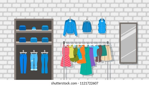 Women clothes store indoor interior illustration. Flat vector background. Female casual outfit shop. Different garments hanging on hanger rack. Denim jeans lie on shelves. Large mirror on a brick wall