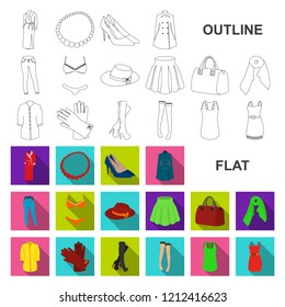 Women Clothing flat icons in set collection for design.Clothing Varieties and Accessories vector symbol stock web illustration.